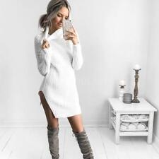 Women Turtleneck Winter Split Long Sleeve Sweater Jumper Knit Bodycon Dress W1J4