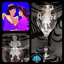 Personalised Disney Aladdin Prince Wine Glass Handmade & Free Name Engraving!