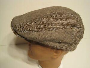 STETSON brown herringbone twoTone Ivy Cabbie DRIVING Cap Hat XL