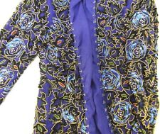 WOMENS STENAY SILK SEQUINS BEADED MULTI COLOR BLAZER TOP JACKET COAT SIZE PM