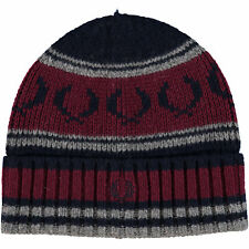 FRED PERRY Men's Navy & Red Lambswool Beanie Hat
