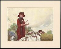 BORZOI PRETTY EDWARDIAN LADY AND DOGS LOVELY DOG PRINT MOUNTED READY TO FRAME