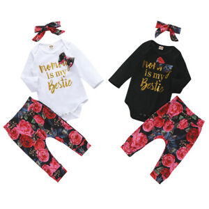 Newborn Baby Girl Clothes Letter Romper Jumpsuit Tops/Pants/Headband Outfit Set