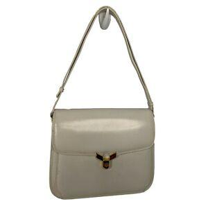 1970s GUCCI White Leather Gold GG Lock Front Adjustable Strap Shoulder Bag Purse