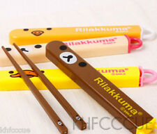 San-X Rilakkuma Bear Kids 1 Pair Chopsticks Brown Box B114