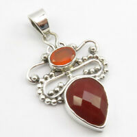 """925 Stamp Pure Sterling Silver Red Oval, Drop Carnelian 2 Stone Pendant 1.7"""""""
