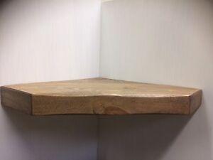 Wooden Rough Saw Solid Floating Vintage HANDMADE CORNER SHELF Diamond Shape