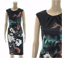 ex Coast Scuba Bodycon Shift Floral Print Occasion Office Party Black Dress