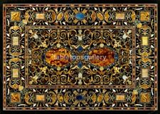4'x3' Black Marble Dining Table Top Inlaid Pietra Dura Arts Furniture Decor B575