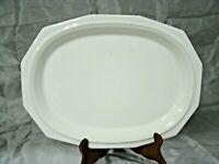 """Vtg Pfaltzgraff HERITAGE All White 14"""" Oval Serving Platter Stoneware USA euc"""