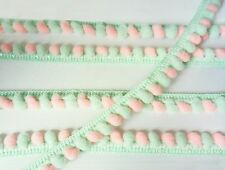 Mint Green Peach Pink Mini Pompom Mix Colors Trim Bobble Ball Fringe Sewing Tape