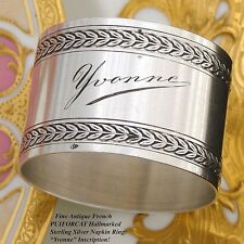 """Antique French PUIFORCAT Sterling Silver 2"""" Napkin Ring, """"Yvonne"""" Inscription"""