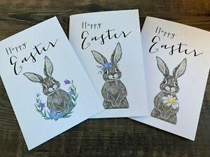 Pack 3 Handmade Easter Cards & Envelopes Happy Easter/Easter Bunny
