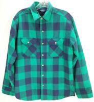 Vtg Woolrich Shirt Button Down Mens Sz L Green Purple Buffalo Plaid Quilt Lining