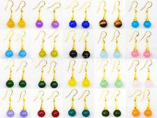 Lots 20 Color 10mm Natural Multicolor Jade Gems Dangle Drop Gold Hook Earring AA