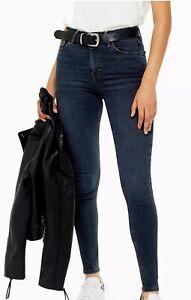 Topshop Blue Black Jamie High Waisted Skinny Jeans Uk 16 Reg RRP £40 BNWT
