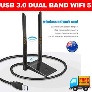 High Power Dual Antenna AC1200 USB 3.0 AC Wireless WiFi Adapter Dongle 802.11AC