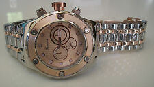 Designer Geneva  Bracelet Silver/Rose Gold Finish Oversized Heavy Fashion Watch