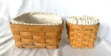 Longaberger Set Of 2 Baskets Medium Berry Small Wall Liners Protectors Signature