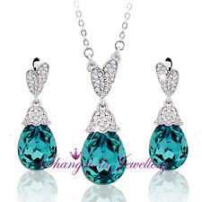 18K White GOLD GF Teardrop Wedding NECKLACE SET with SWAROVSKI CRYSTAL TE608