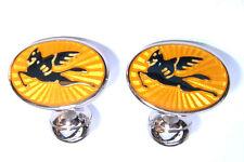 ETRO Cufflinks Yellow Enamel Silver Winged Horses Pegasus