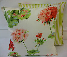 2 NEW CUSHION COVERS IN LAURA ASHLEY GERANIUM PALE CRANBERRY RED COTTON LINEN