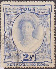 (R631) 1920 Tonga 2½d blue misplaced (Queen Salote)
