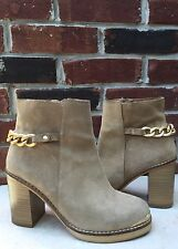 TOPSHOP Merit Beige Tan Suede Gold Chain Ankle Boots Chunky Heel 38 7.5 RARE!