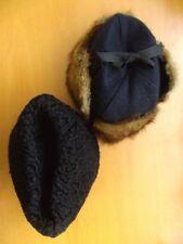 2 (LOT) MINT CANADIAN FUR HAT HATS MAN MEN 1 MUSKRAT 1 FAUX FUR SIZE S