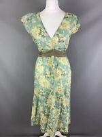 Jigsaw Size UK 10 Cotton Summer Midi Dress Silk Belt Aqua Mint Green Floral