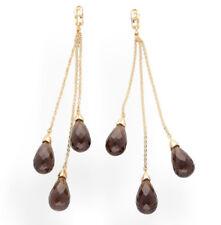 9Carat Yellow Gold Smoky Quartz & Diamond Drop Earrings (Approx 95mm Length)