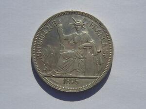 1 Piastre Indo-China Silver Coin 1895 (See Photos) #B515