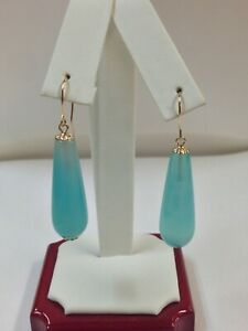 Natural Agate Dangle Earrings Solid 14kt Yellow Gold