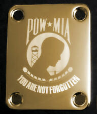 GUITAR NECK PLATE Custom Engraved Etched - Fits Fender - POW-MIA Flag - Gold