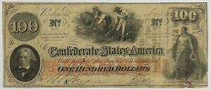1862 CONFEDERATE STATES  $100 HUNDRED DOLLAR NOTE SLAVES IN FIELD Civil Note