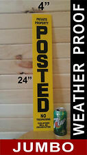 """NO TRESPASSING SIGN ~ POSTED ~ PRIVATE PROPERTY  4"""" x 24"""". Yellow (4 PACK)"""
