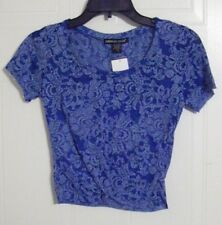 American Dream Junior Woman's Short Sleeve Crop Top - Blue with White Print - M
