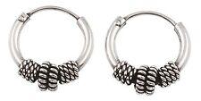Sterling Silver 10mm Tribal Bali Hoop Earrings