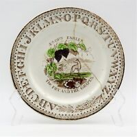 BROWNHILLS POTTERY CO  Aesop's Fables Plate The Fox and The Grapes  c. 1872-1896