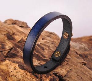 JG370 Blue Simply Rock Single Band Genuine Leather Bracelet Wristband Women's