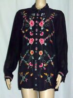 Size L JOHNNY WAS Cupra Rayon Embroidered Gray Orange Blue Pink Blouse Floral LS