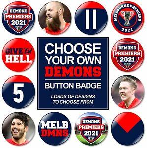 1 x Melbourne 32mm BUTTON PIN BADGE Demons Premiers 2021 Premiership Club Footy