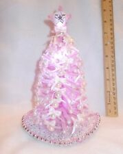 "OOAK 8""LIGHTED PINK DOLLHOUSE MINIATURE CHRISTMAS TREE 1:12 *MID-CENTURY MODERN*"