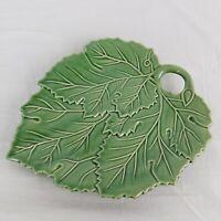 "Bordallo Pinheiro Portugal Art Pottery Plate Vine Green Leaf Shape Dish 10"""