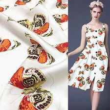 "Golden butterfly print pure silk twill silk fabric 18momme 55"" width,STW044"