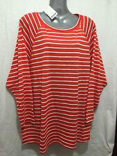 BNWT Ladies Sz 22 Moda Brand Orange/White 3/4 Sleeve Round Neck T Shirt Top