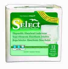 """Select Disposable Absorbent Underwear Size XX-Large (62""""-80"""") Case of 48 - #2608"""
