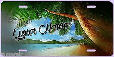 TROPICAL BEACH LICENSE PLATE, OIL PAINTING STYLE, Personalized with your name