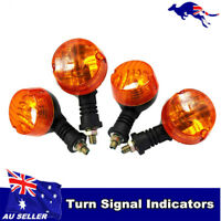 4pcs Motorcycle Turn Signal Lights Lamp Flashing Indicator Round Amber Light AU