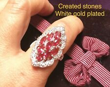 9 marquise ruby DEC0 claster ring size O 7.5